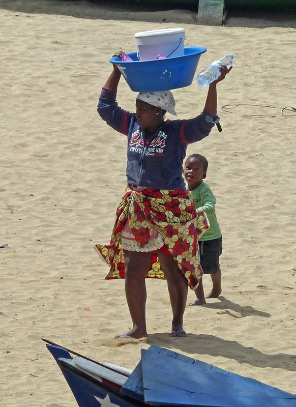 Water seller on the beach, Tarrafal, Santiago