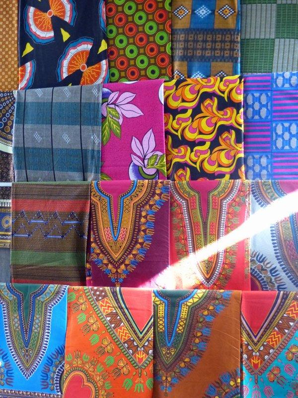 Colourful fabrics in the Mercado de Sucupira