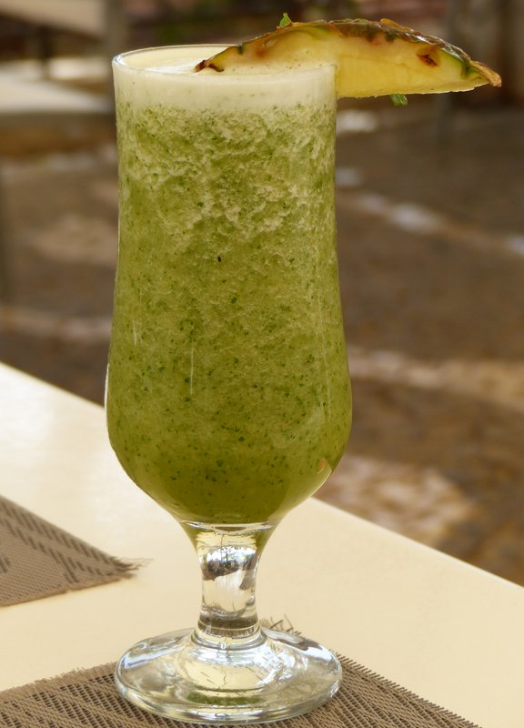 Pineapple juice with mint at the Cafe Sofia, Praça Luis de Camoes, Praia, Cape Verde