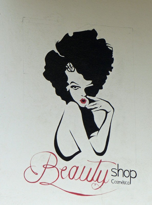 Beauty shop sign, Santa Maria
