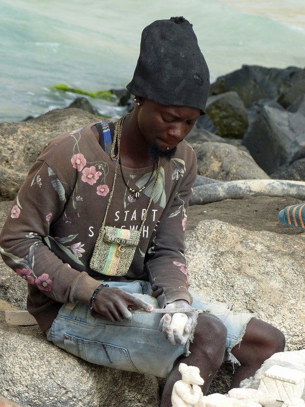 Stone carver at work, Santa Maria pier