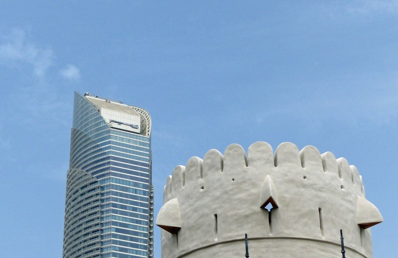 Tower block and old fort, Abu Dhabi