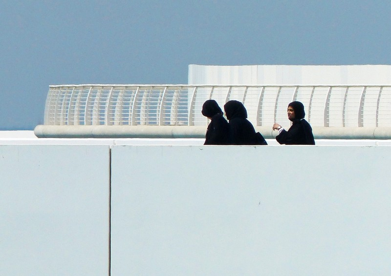 Visitors at the Louvre, Abu Dhabi