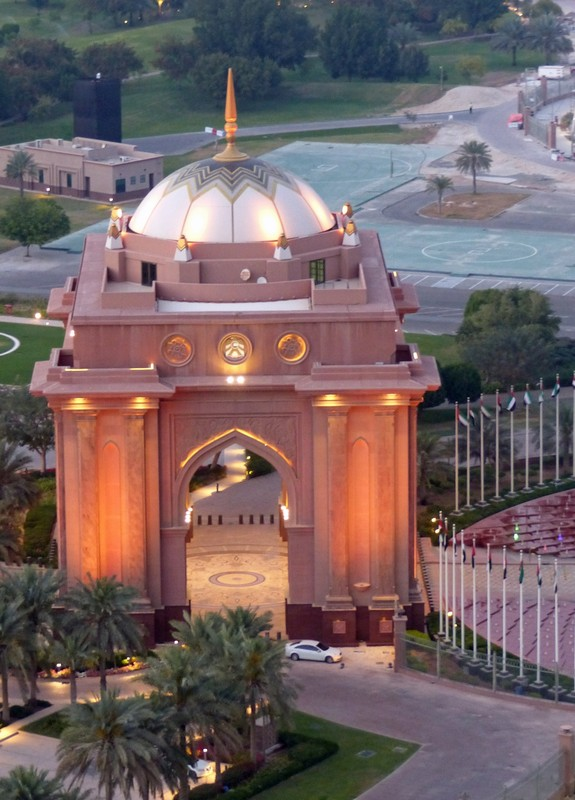 One of the gates to the Emirates Palace Hotel, seen from above