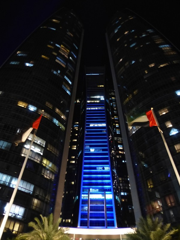 Etihad Towers at night
