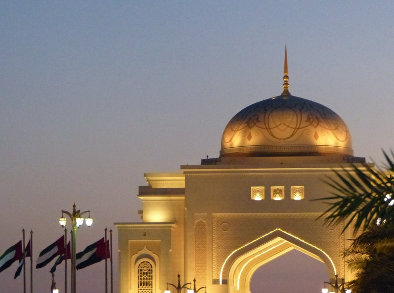 Gate to the Presidential Palace at night, Abu Dhabi