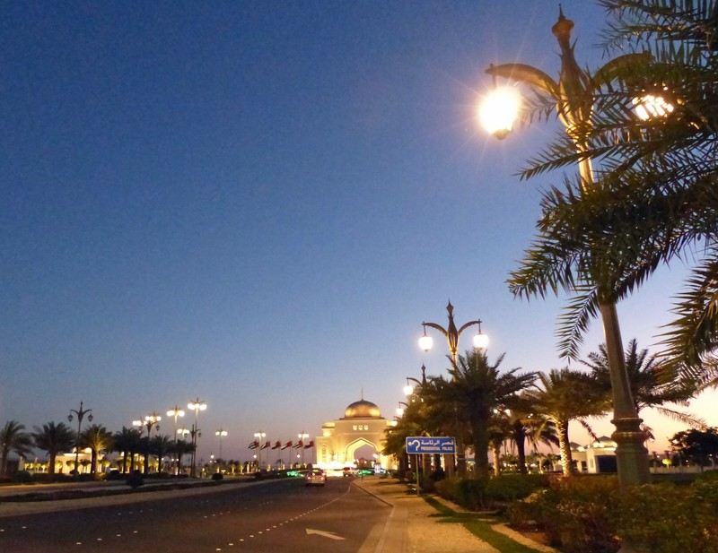 Corniche and gate to Presidential Palace at night, Abu Dhabi