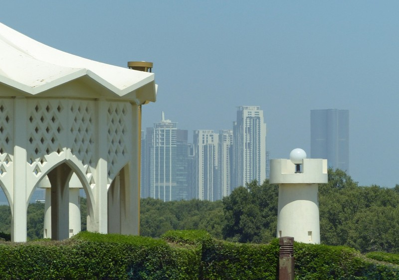 View of Abu Dhabi skyscrapers from the car
