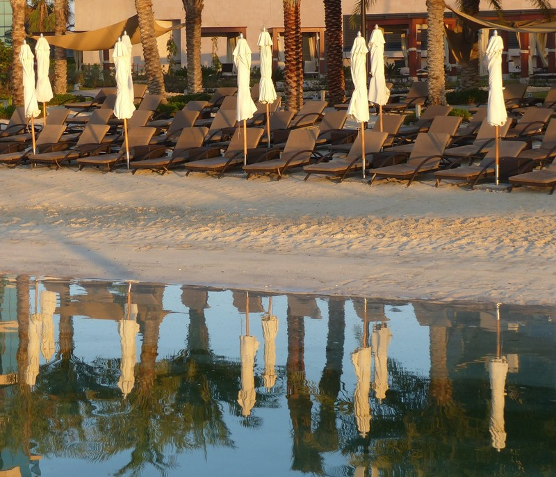 Beach reflection, early morning, at the Bab al Qasr hotel, Abu Dhabi
