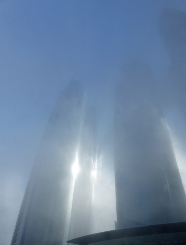 Etihad Towers, Abu Dhabi, on a misty morning