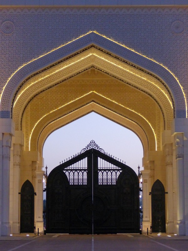Presidential Palace gate at sunset, Abu Dhabi