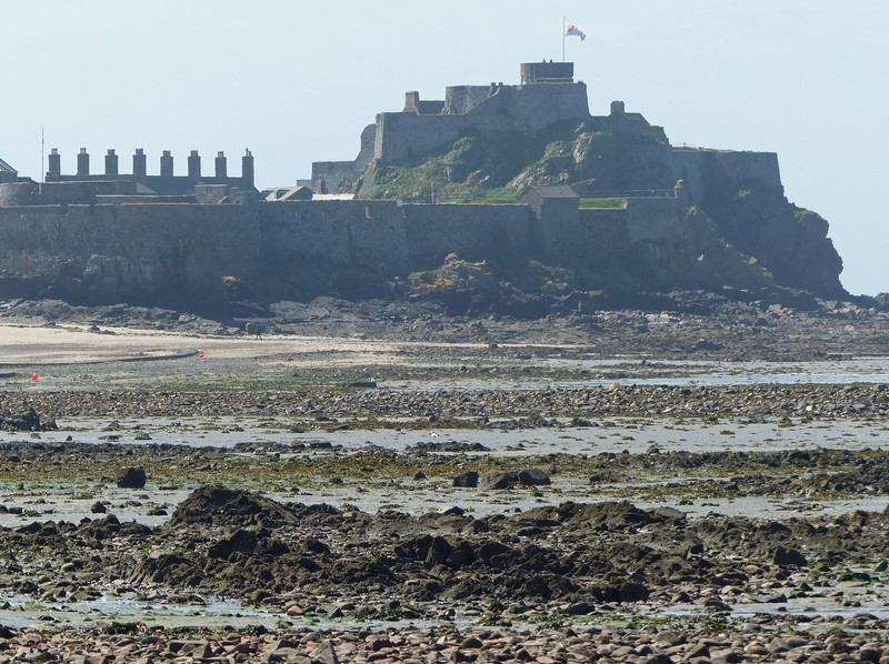 Elizabeth Castle at low tide, St Helier