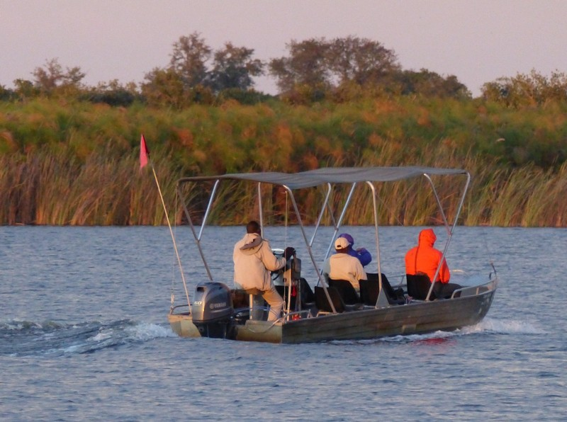 Motor boat setting out from Xugana Island Lodge, Okavango Delta