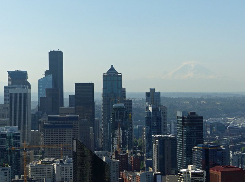 View of downtown and Mount Rainier from the Space Needle