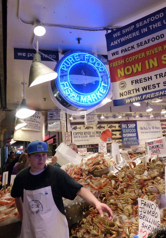 Seafood stall, Pike Place Market, Seattle