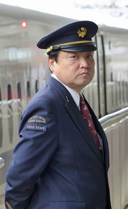 Bullet train guard, Odawara Station, Japan