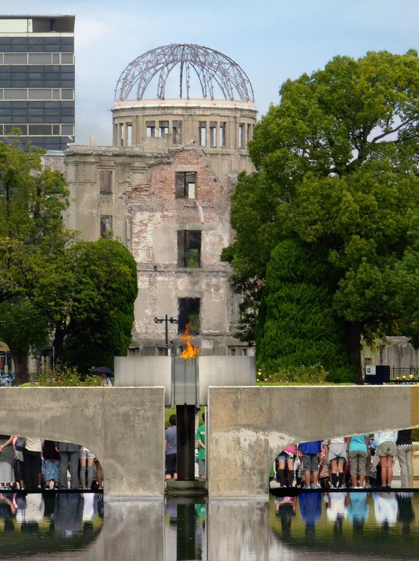 Peace Flame in front of the Atomic Dome, Hiroshima