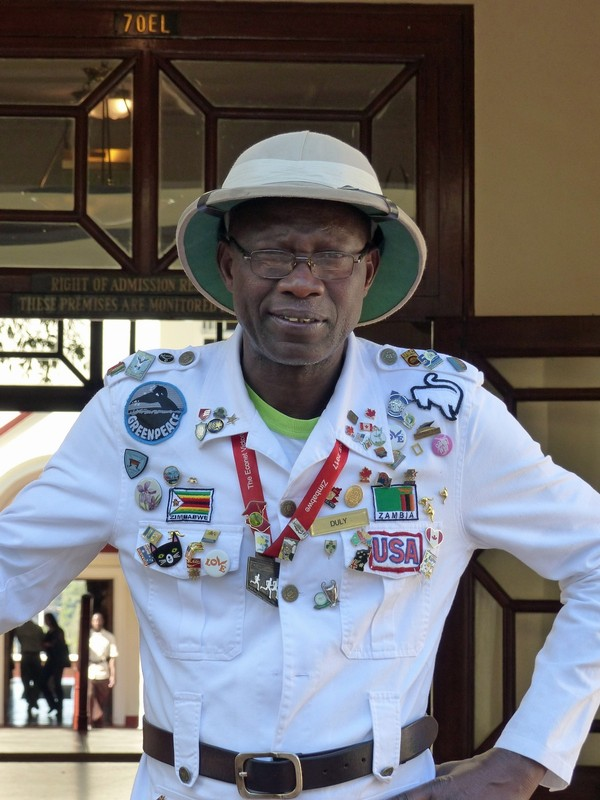 Duly, the doorman at the Victoria Falls Hotel, Zimbabwe