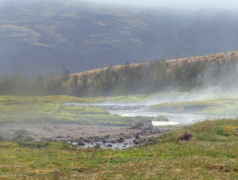Steam and hot pools at Geysir