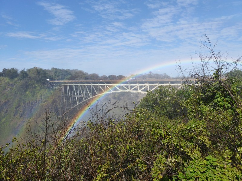 Rainbows and rail bridge, Victoria Falls