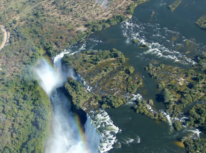 Helicopter flight above Victoria Falls - Cataract Island