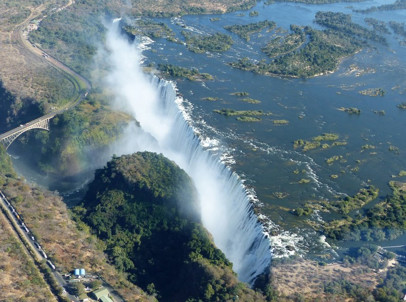 Helicopter flight above Victoria Falls - the falls from the Zambia side