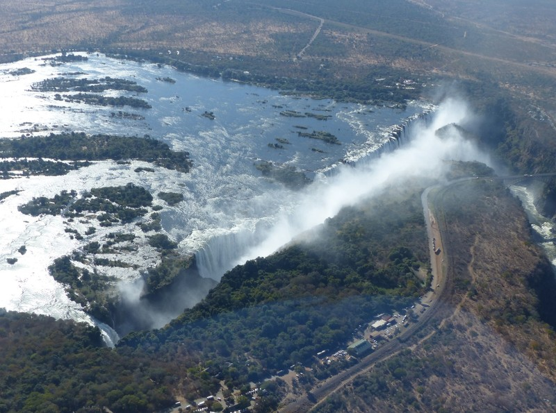 Helicopter flight above Victoria Falls - the falls from the Zimbabwe side