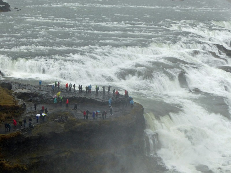 Wet visitors at Gullfoss