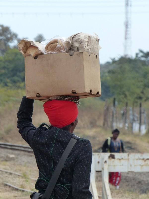 Crossing the railroad tracks, Victoria Falls, Zimbabwe