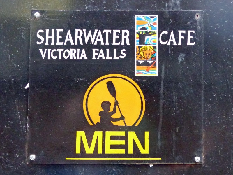 Toilet sign, Shearwater Cafe, Victoria Falls, Zimbabwe