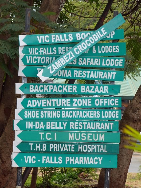Street sign, Victoria Falls, Zimbabwe