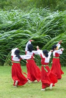 Masked dancing on a collective farm