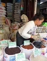 Shopping for rice in the market, Siem Reap