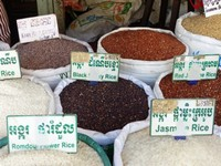Rice for sale in the market, Siem Reap