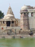 Reservoir with temple beyond - Chittaurgarh