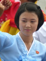Mass dancing on National Day in Pyongyang