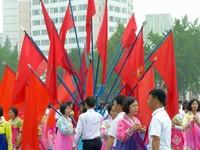 Mass dancing on National Day in Pyongyang