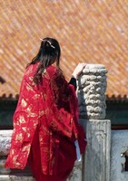 Chinese tourist in the Forbidden City, near Hall of Preserved Harmony