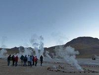 Tourists at the El Tatio geyser field, Atacama Desert