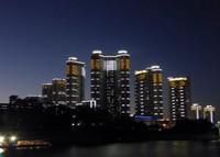 Pyongyang at night from the Taedonggang Restaurant Boat