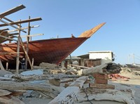 Partly built dhow at the dhow shipyard, Sur