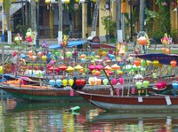 Colourful boats in Hoi An
