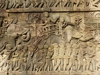 Bas relief at the Bayon - generals and foot soldiers