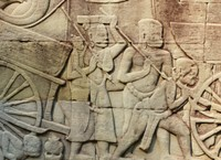 Bas relief at the Bayon - people and carts