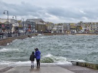 St Ives harbour in stormy weather