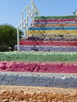 Colourful steps leading down from Plateau, Praia