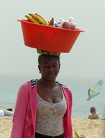 Selling fruit and drinks on the beach, Santa Maria, Sal