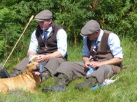Grouse shoot beaters and dog, Lordenshaw