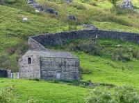 Landscape near Muker - barn and drystone walls