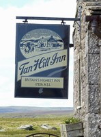 Sign at Tan Hill Inn, the highest pub in Britain